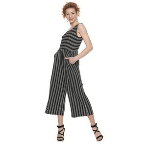 Juniors Rewind black striped jumpsuit